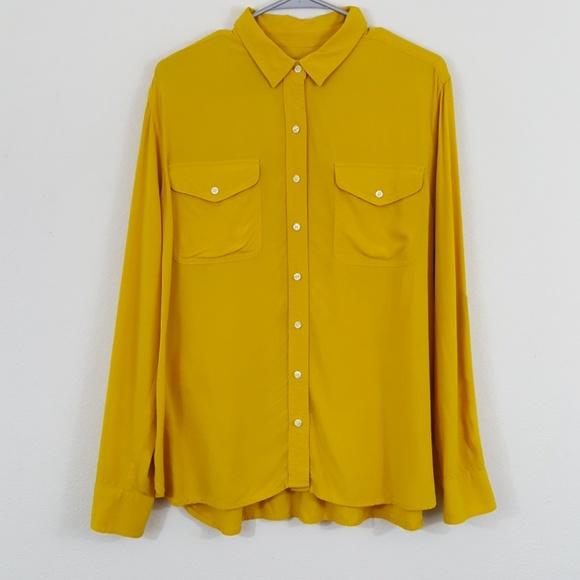 3b888a73 LOFT Tops | Golden Yellow Button Up Long Sleeve Blouse Xl | Poshmark
